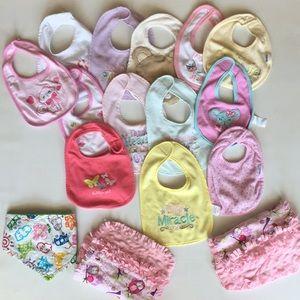 Lot of 14 Baby Girl Bibs + 2 Owl Burp Cloths